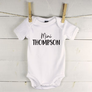 'Mini' Personalised Babygrow Gift For New Baby