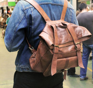 Folded Leather Backpack - bags