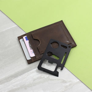 Personalised Leather Card Holder With Multi Tool