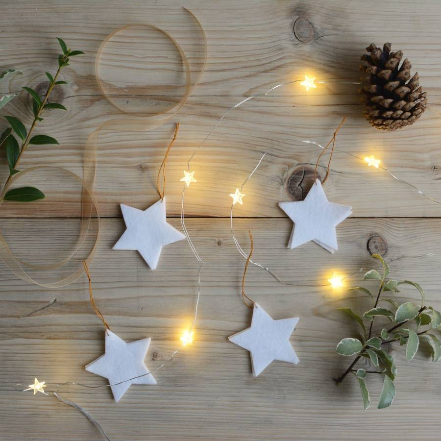star christmas tree ornaments white set of six by