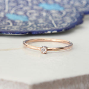 Hale 9ct Rose Gold Diamond Stack Ring - rings