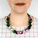 Chunky, Fabric Covered, Bead Necklace 'Peony'