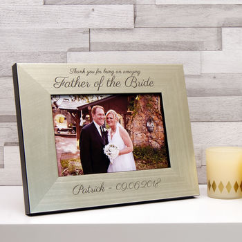 Father of the Bride Photo Frame in Champagne Silver