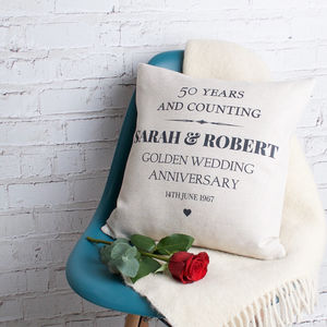 Golden Wedding Anniversary Cushion Cover - cushions