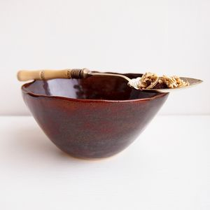 Handmade Brown Pottery Serving Cereal Bowl