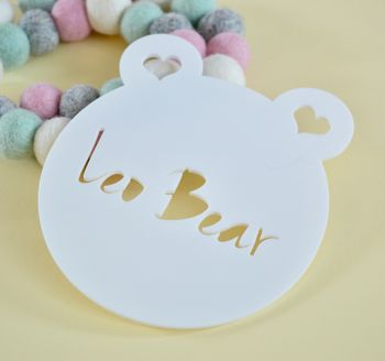 Monochrome Personalised Door Sign Teddy Bear Acrylic