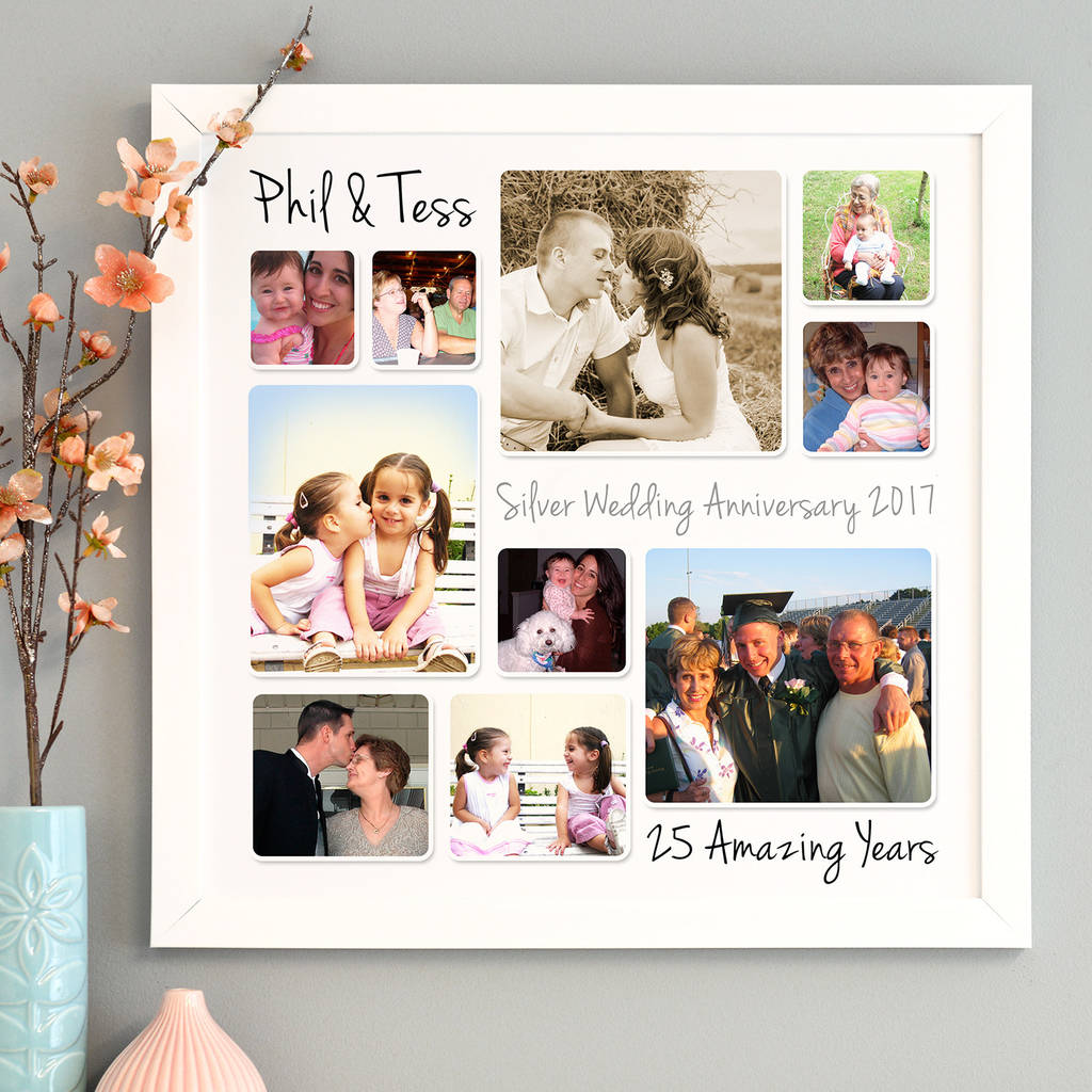 Personalised Silver Wedding Anniversary Photo Collage By Cherry Pete