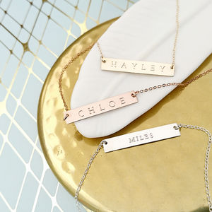 Reversible Personalised Bar Necklace 14 K Gold Fill