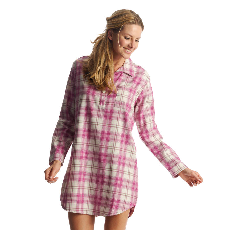 d8c42c33ae12 womens pink check brushed cotton nightshirt by pj pan ...