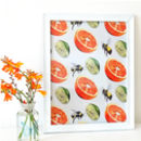 Orange, Lime And Bee Pattern Print