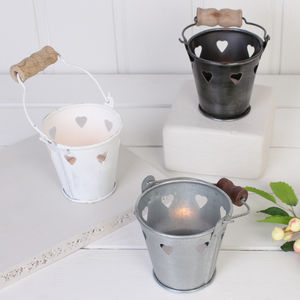 Wedding Table Heart Tea Light Bucket - lanterns & votives