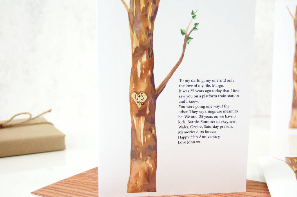 Personalised wedding anniversary card tree carving by made with