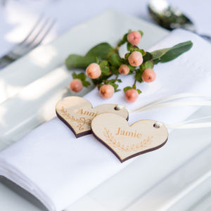 10pk Wooden Name Place Tags - wedding favours