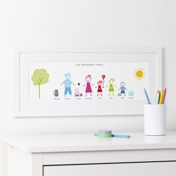 Personalised Stick Family Portrait Print 7 - 10 Family Members