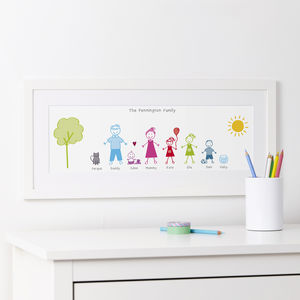 Personalised Stick Family Portrait Print - nursery pictures & prints