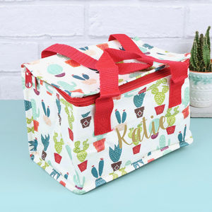 Personalised Colourful Cactus Lunch Bag - personalised