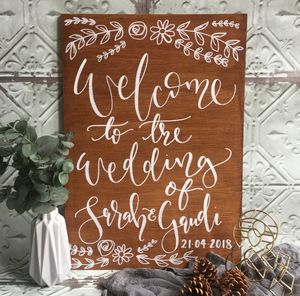 Personalised Welcome Wedding Wooden Sign - outdoor wedding signs
