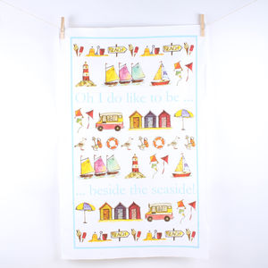 Brilliantly British Seaside Tea Towel - kitchen