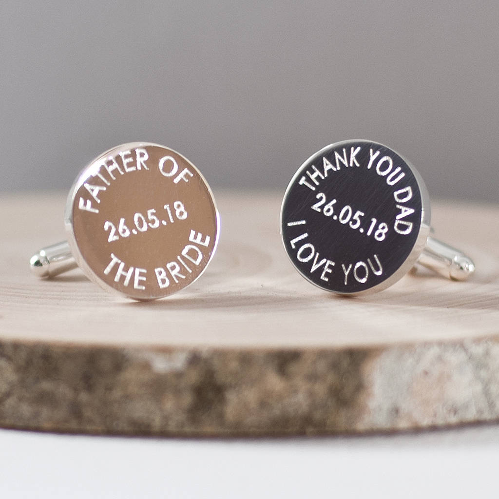 Father Of The Bride Or Groom Wedding Date Cufflinks