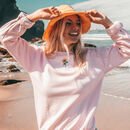 Embroidered Pink Sunflower Sweater