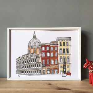 Rome Cityscape Illustration Print - maps & locations
