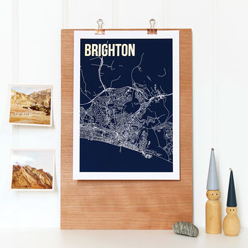 Brighton Abstract Map With Foil Details