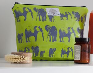 Wash Bag With Happy Elephants Green Print
