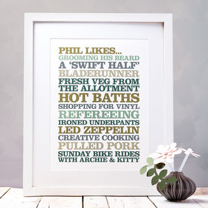 Framed Personalised 'Likes' Print - typography