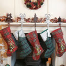 Set Of Five Festive Tartan Christmas Stockings