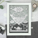 Personalised Silver Anniversary Papercut
