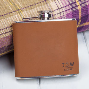Brown Faux Leather Initials Personalised Hip Flask - hip flasks