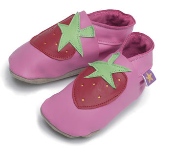 Girls Soft Leather Baby Shoes Strawberry Pink