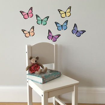 Pastel Rainbow Butterfly Wall Stickers