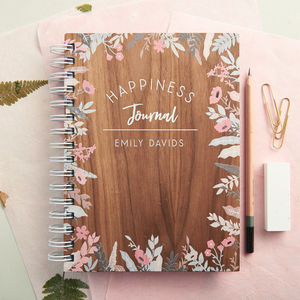 Personalised Happiness Walnut Journal Notebook