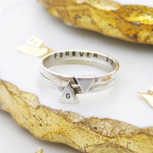 Silver Personalised Triangle Stacking Ring - rings