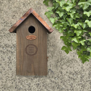 Personalised Bird House With Copper Roof