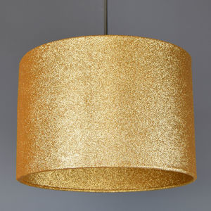 Gold Glitter Lampshade With Glitter Or Metallic Lining - lamp bases & shades