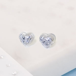Ashes Or Hair Small Resin Heart Stud Earrings