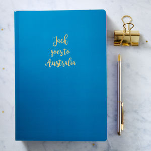 Personalised Gold Foil A5 Notebook - frequent traveller