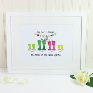 Personalised Anniversary Welly Boot Family Print