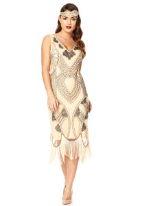 20s Inspired Flapper Fringe Dress - flapper dresses