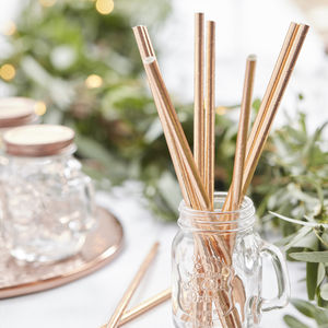 Rose Gold Foiled Paper Straw