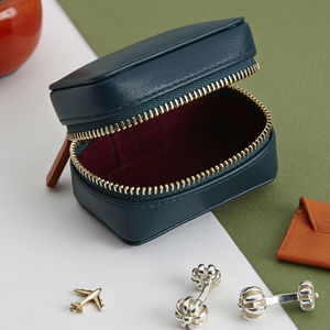 Luxury Soft Leather Personalised Travel Cufflink Box