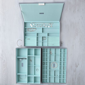 Dove Grey With Mint Supersize Jewellery Box - boxes, trunks & crates