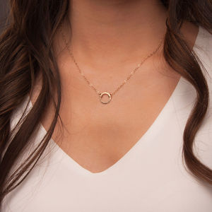Gold Or Silver Hammered Small Open Disc Necklace