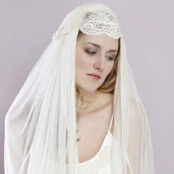 Liliana Cream Pearl Beaded Bridal Juliet Cap