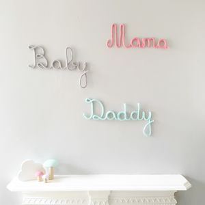 Mama, Daddy And Baby Family Knitted Signs