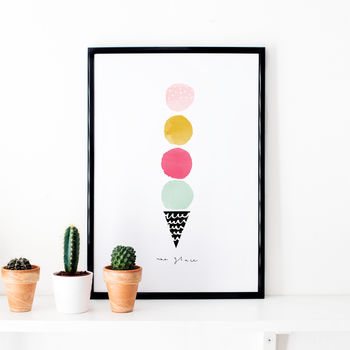 Ice Cream Illustrated Print