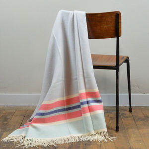 Lifestyle Lambswool Blanket In Dove Grey Multi Stripe