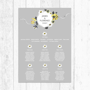 Yellow And Grey Personalised Table Plan - new in wedding styling